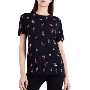 The Kooples Floral Embroidered T-Shirt